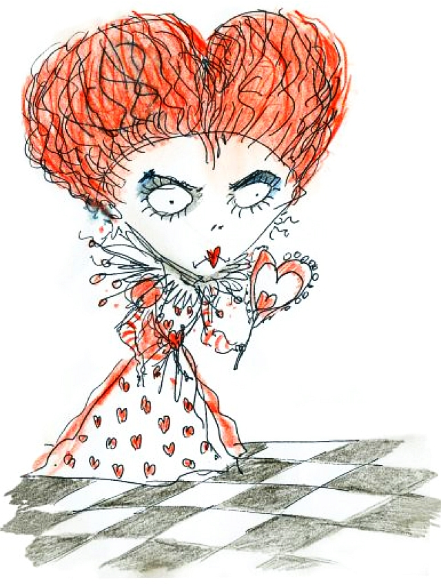 alice and the red queen illustrations of flowers